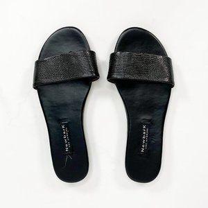 NEWBARK Roma l Black Lizard Embossed Sandals